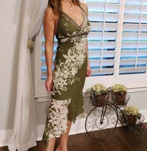Olive green midi handkerchief dress